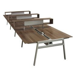 Steelcase Turnstone Bivi Used Open Benching with Storage, Blackwood - Pod of 8