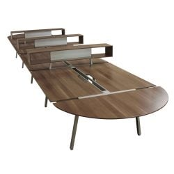Steelcase Turnstone Bivi Used Open Benching with Storage Blackwood - Pod of 8