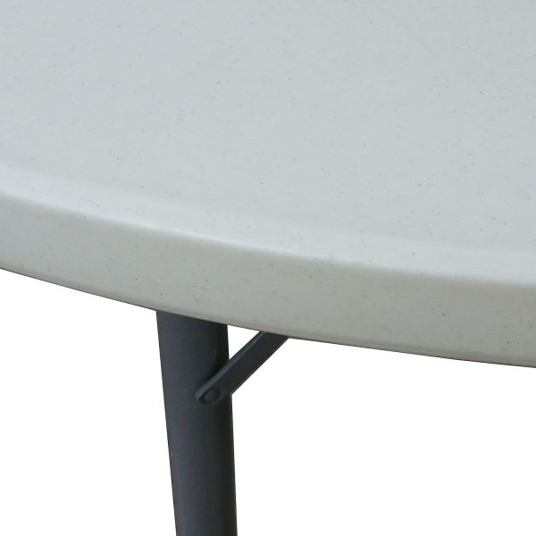72 Inch Used Round Plastic Folding Table, White Speckled