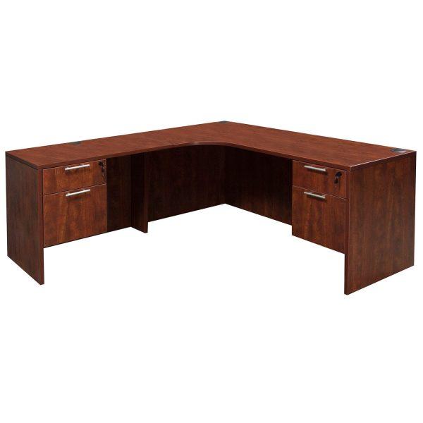 Everyday Left Return Laminate Corner Desk L Shape With Computer Corner, Cherry
