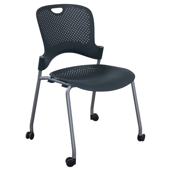 Herman Miller Caper Used Armless Mobile Stack Chair, Dark Green