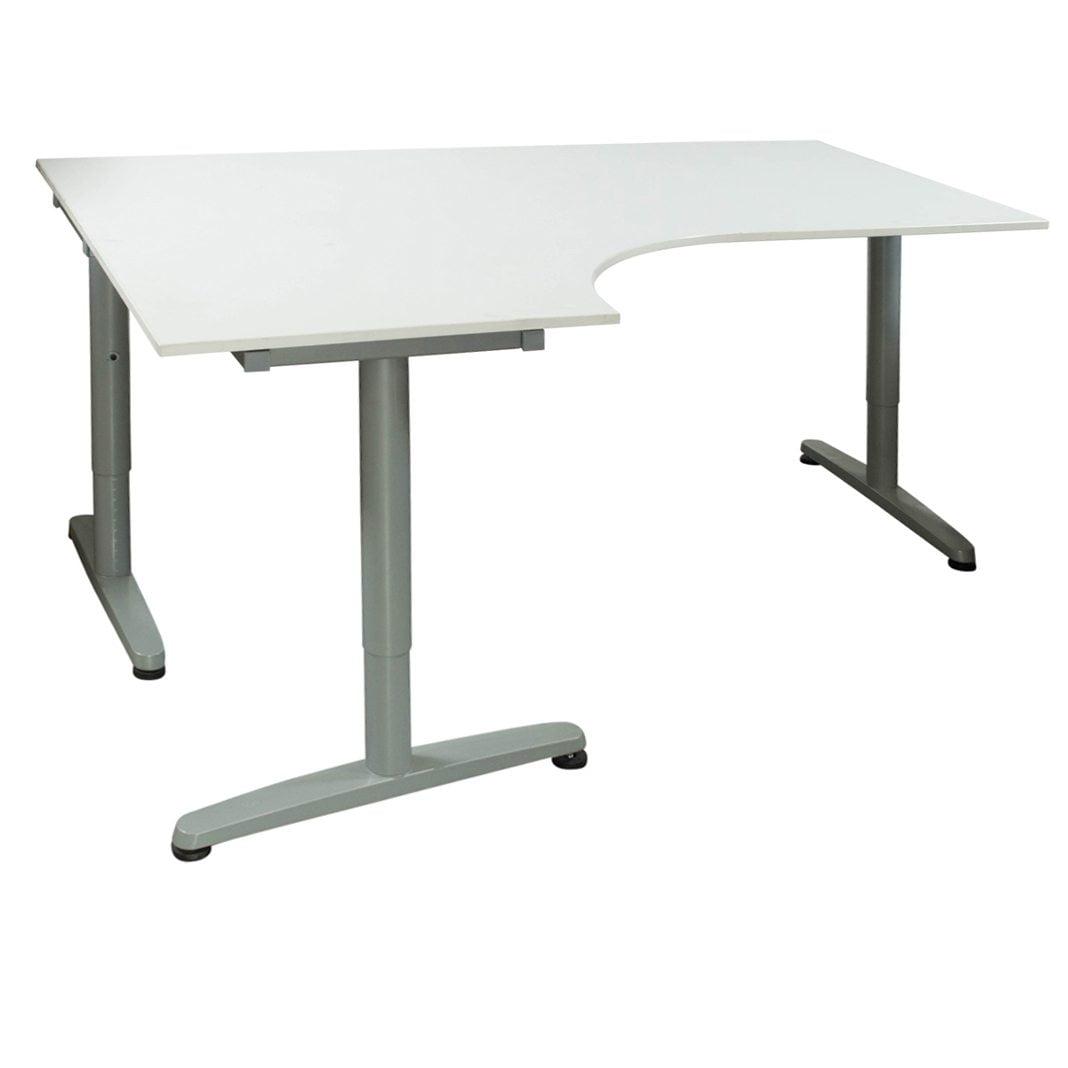 Ikea Galant Used 47x63 Adjustable Height Laminate Table Left Bend White National Office Interiors And Liquidators