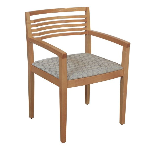 Knoll Ricchio Maple Wood Side Chair, Gray Circle Pattern