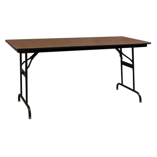 KI Heritage Adjustable Height Used Folding Table 30x72, Walnut