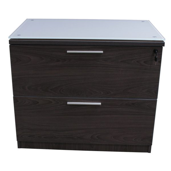 Manhattan 2 Drawer 36 in Laminate Lateral File with Glass Top, Cashmere Gray