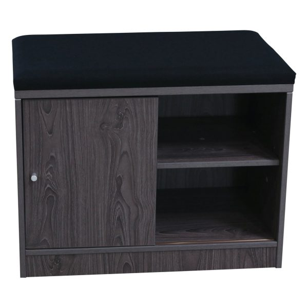 Manhattan 2 Shelf Bookcase with Sliding Door and Cushion Top