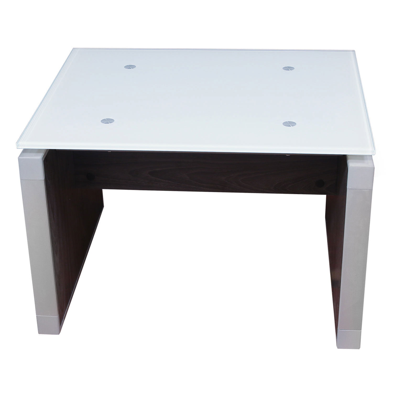 Manhattan 24x24 Glass Top End Table, Cashmere Gray