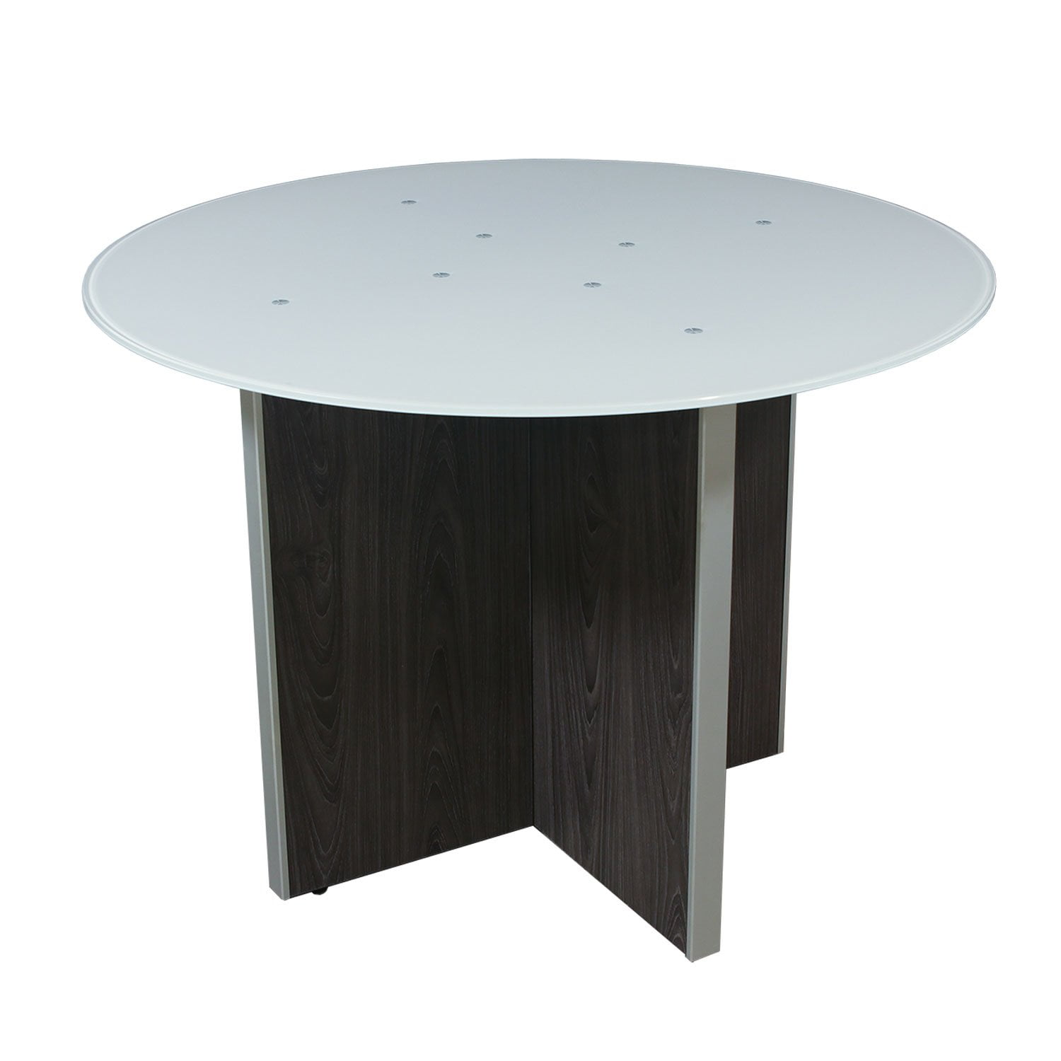 Manhattan 42 Inch Round Laminate Meeting Table with Glass Top, Cashmere Gray