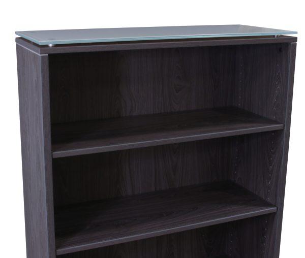 Manhattan 70 In 5 Shelf Laminate Bookcase with Glass Top, Cashmere Gray