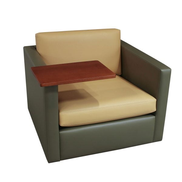 Martin Brattrud Used Leather Lounge Chair w/ Right Tablet, Green/Yellow