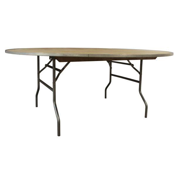 Maywood Used 72 Inch Round Banquet Folding Table, Plywood