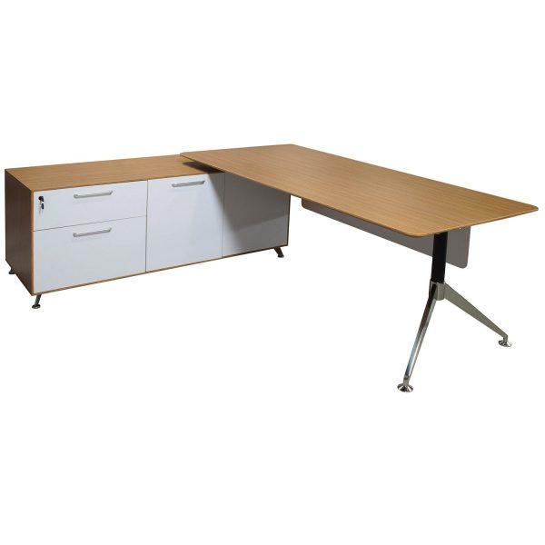 Morgan Manager Left Return Melamine L Shape Desk, Zebra and White