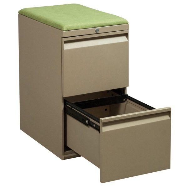Teknion File File Used Tan Pedestal, Green Cushion