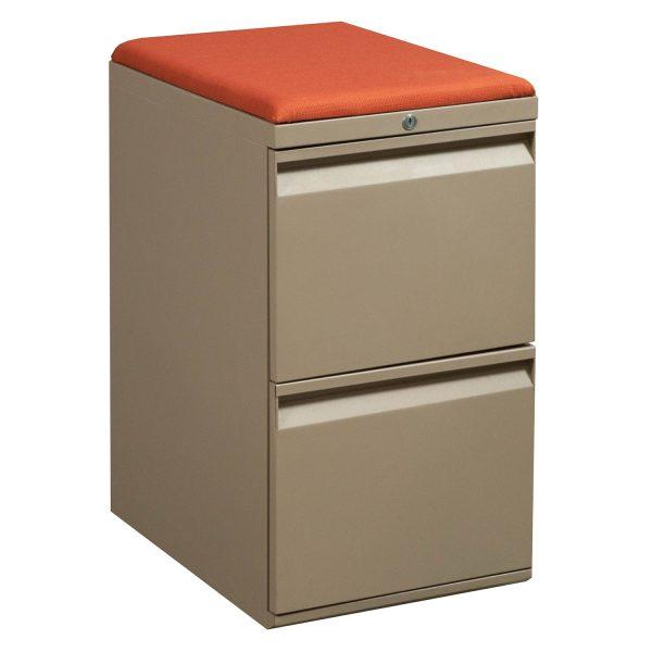 Teknion File File Used Tan Pedestal, Orange Cushion