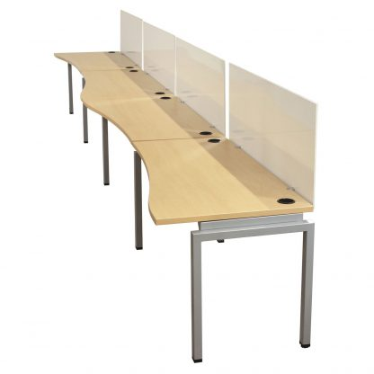 Used Open Benching Work Stations with Whiteboards, Maple - Sold as a Row of 4