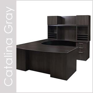 Catalina Gray Laminate Desk Set Series
