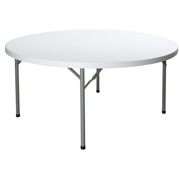 goSIT New 60 Inch Round Plastic Folding Table, Granite White