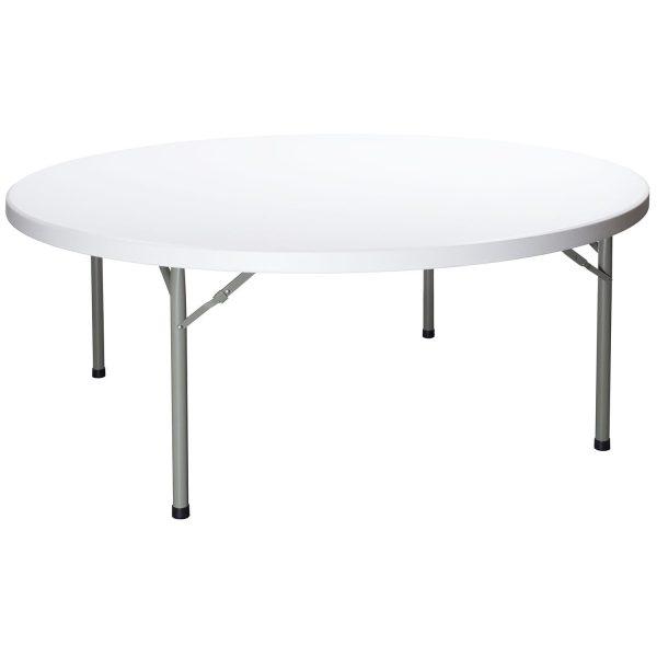 goSIT New 72 Inch Round Plastic Folding Table, Granite White