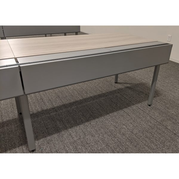 Haworth Used Open Benching Work Stations with Power, Grey Elm - Sold in Rows