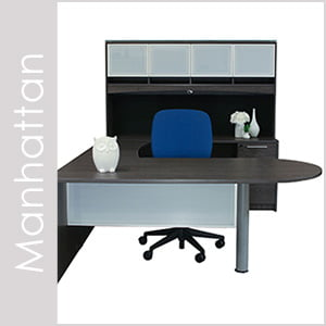 Manhattan Cashmere Gray Laminate Desk Set Series