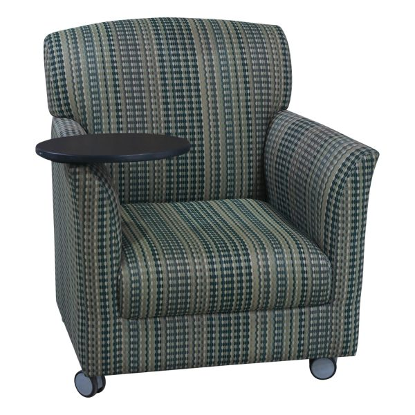 Global Upholstery Used Reception Chair w Tablet, Green Multi-line Pattern