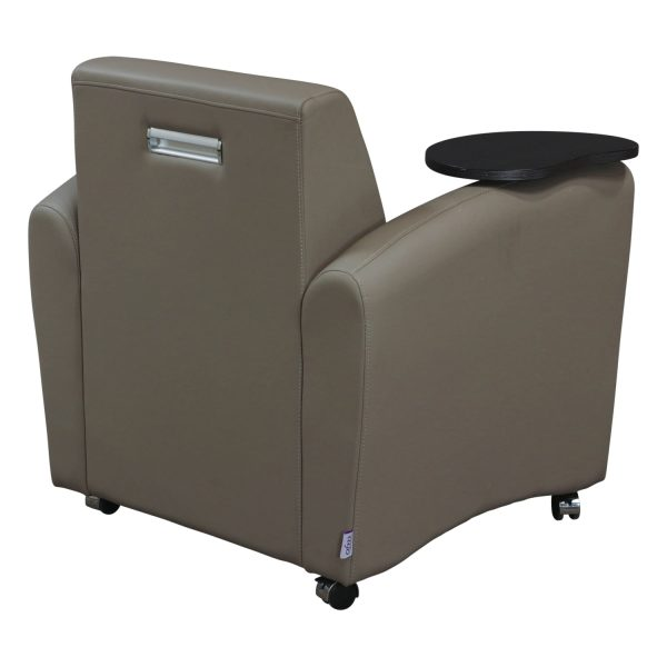 OFM Used Mobile Leather Reception Chair with Tablet, Gray