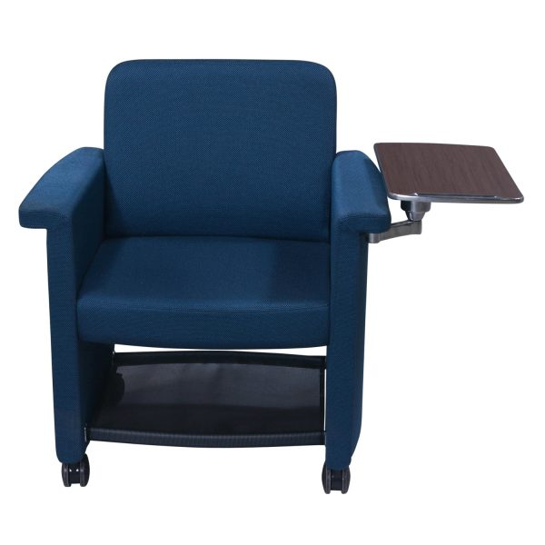 Teknion Belize Used Mobile Chair with Left Tablet, Sapphire Blue