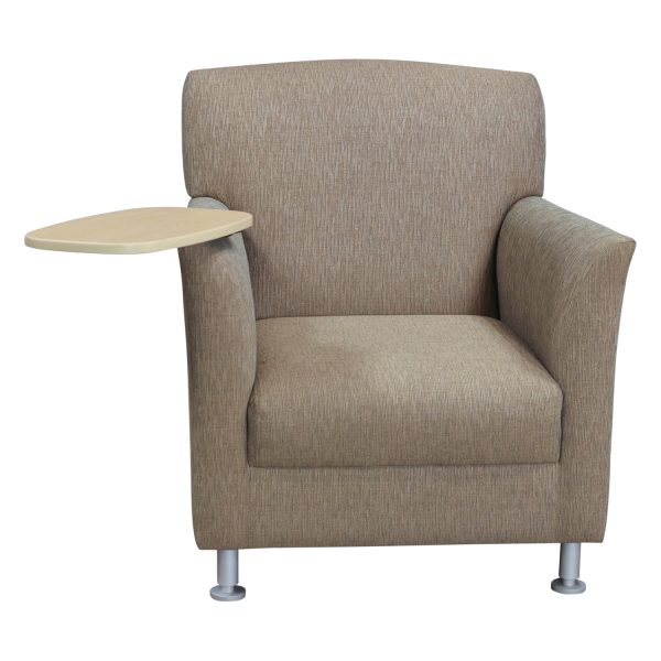 Global Used Reception Chair with Maple Tablet, Tan Pattern